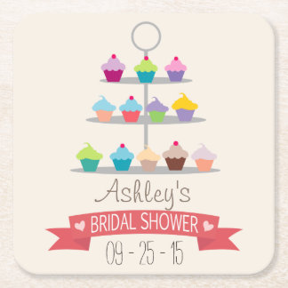 Colorful Cupcake Tree Bridal Shower Square Paper Coaster