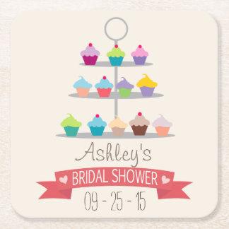 Colorful Cupcake Tree Bridal Shower Square Paper Coaster