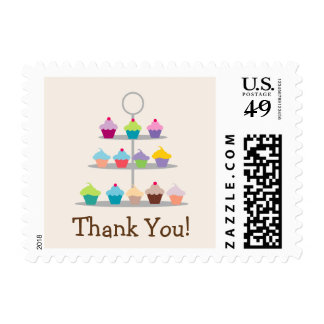 Colorful Cupcake Tree Thank You Postage
