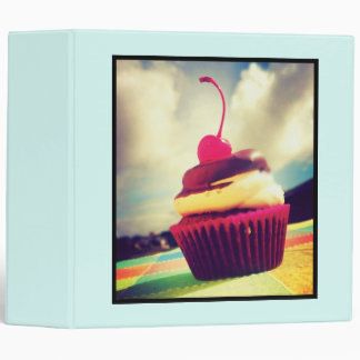 Colorful Cupcake with Cherry on Top 3 Ring Binder