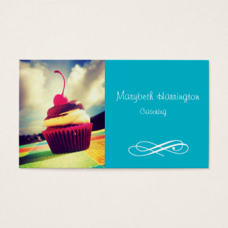 Colorful Cupcake with Cherry on Top Business Card