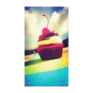 Colorful Cupcake with Cherry on Top Canvas Print