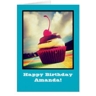 Colorful Cupcake with Cherry on Top Card