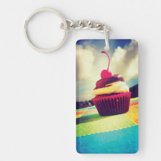 Colorful Cupcake with Cherry on Top Keychain