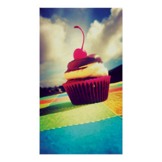 Colorful Cupcake with Cherry on Top Poster