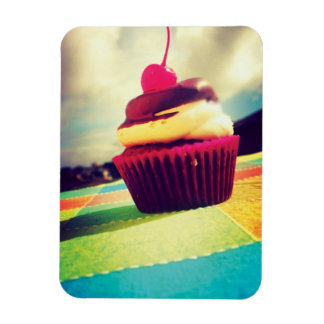 Colorful Cupcake with Cherry on Top Rectangular Photo Magnet