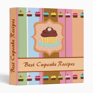 Colorful cupcakes artsy stripe recipe binder