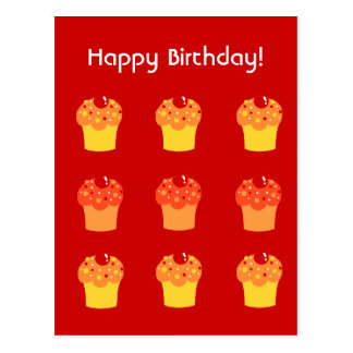 Colorful Cupcakes  Birthday Postcard