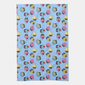 Colorful Cupcakes Blue Kitchen Towel
