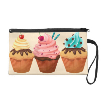 Colorful Cupcakes drawing Wristlet