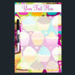 """Colorful Cupcakes Dry-Erase Board<br><div class=""""desc"""">Customize this colorful cupcakes message board with a name,  message or business!</div>"""