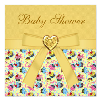 Colorful Cupcakes Elegant Neutral Baby Shower 5.25x5.25 Square Paper Invitation Card