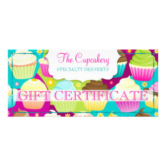Colorful Cupcakes Gift Certificate Full Color Rack Card