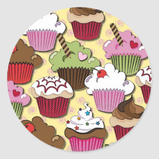 Colorful Cupcakes Gifts Apparel Collectibles Classic Round Sticker