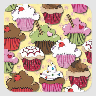 Colorful Cupcakes Gifts Apparel Collectibles Square Sticker