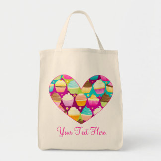 Colorful Cupcakes Heart Tote Bag