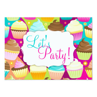 "Colorful Cupcakes ""Let's Party"" Card"