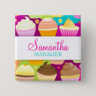 Colorful Cupcakes Name Badge Button