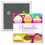 Colorful Cupcakes Name Badge Pinback Buttons