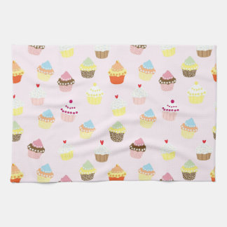 Colorful Cupcakes Pattern Kitchen Towel