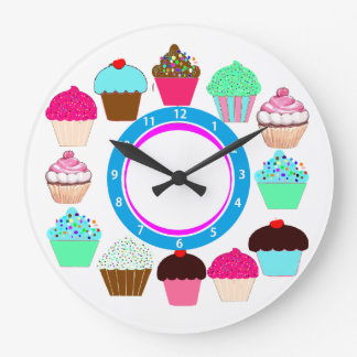 Colorful Cupcakes - Personalized Large Clock