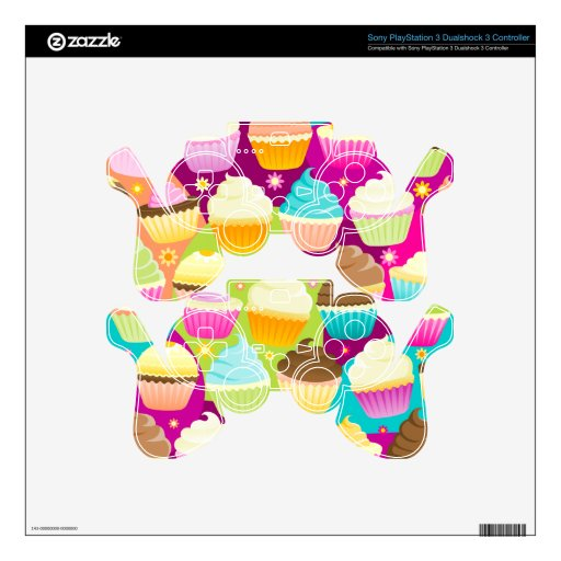 Colorful Cupcakes PS3 Controller Skin
