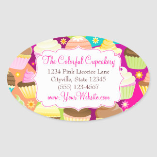 Colorful Cupcakes Oval Stickers