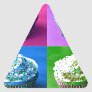 Colorful Cupcakes Triangle Sticker