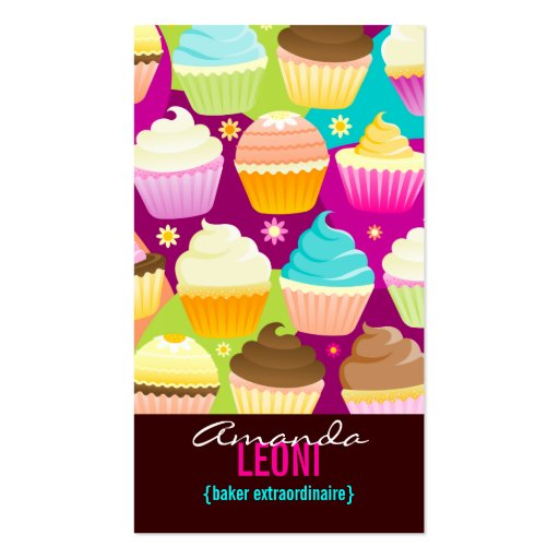 Colorful Cupcakes Vertical Business Cards (front side)