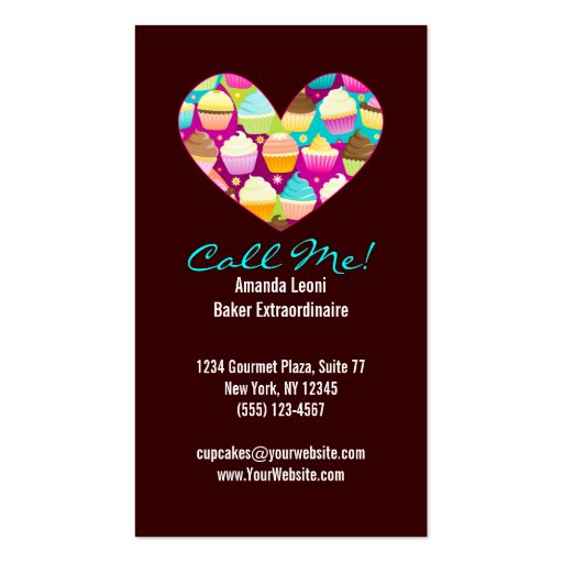Colorful Cupcakes Vertical Business Cards (back side)