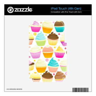 Colorful Cupcakes (White) Skins For iPod Touch 4G