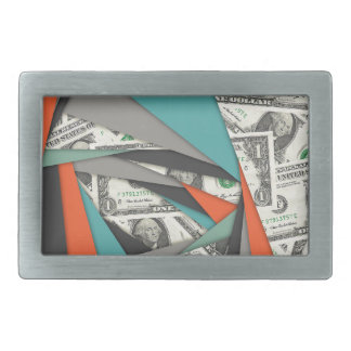 Colorful Currency Collage Belt Buckle