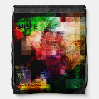 Colorful Currency Collage Drawstring Bag