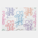 Colorful Cursive Happy Birthday Pattern Towel