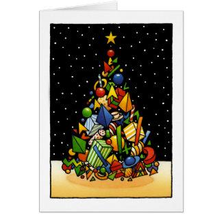 Colorful Custom Christmas Gift Tree Art Greeting Card