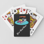 "Colorful Custom Pontoon Boat Playing Cards<br><div class=""desc"">Your favorite pontoon boat owner will love playing cards with this colorful playing cards featuring an illustration of a pontoon boat on the back. These illustrated cards can easily be customized with a boat name or your own message. These cards make a great personalized gift for pontoon boat owners.</div>"