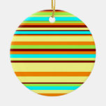 Colorful Customized Designer Stripe Pattern Christmas Ornaments