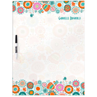 Colorful Cute Birds & Flowers Dry-Erase Board