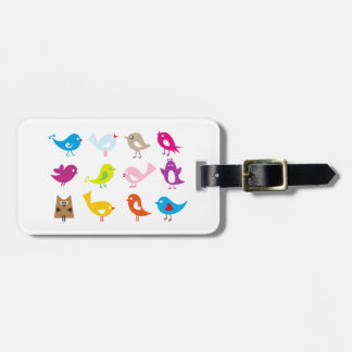 Colorful cute birds luggage tag