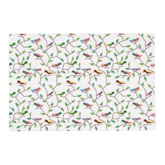 Colorful cute birds placemat