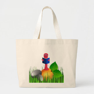 Colorful Cute Bookworm Book Worm Jumbo Tote Bag