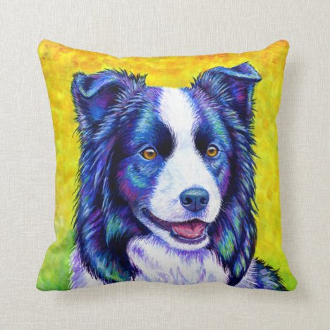 Colorful Cute Border Collie Dog Throw Pillow