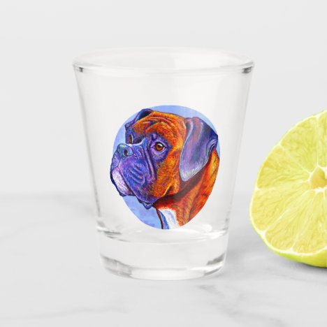 Colorful Cute Brindle Boxer Dog Shot Glass
