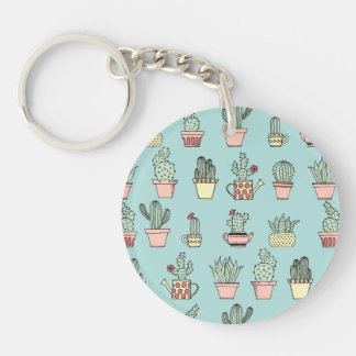 Colorful Cute Cactus In Hand Drawn Style Pattern Keychain