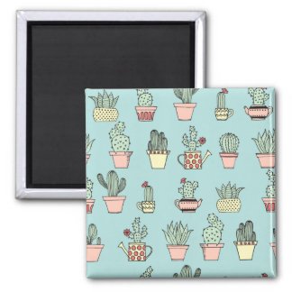 Colorful Cute Cactus In Hand Drawn Style Pattern Magnet