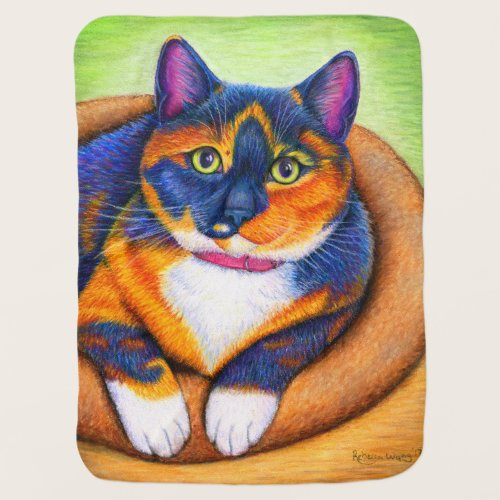 Colorful Cute Calico Cat Baby Blanket