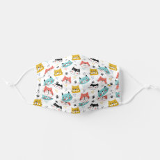 Colorful Cute Cat Faces Pattern Cloth Face Mask