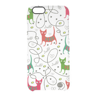 Colorful Cute Cats & Fish Bone Pattern Clear iPhone 6/6S Case