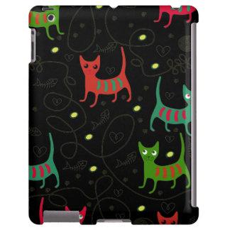 Colorful Cute Cats & Fish Bone Pattern iPad Case