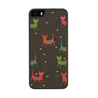 Colorful Cute Cats & Fish Bone Pattern Wood Phone Case For iPhone SE/5/5s